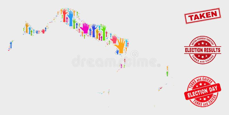 Collage del mapa de Turks and Caicos Islands de la elección y apenar el sello tomado del sello libre illustration