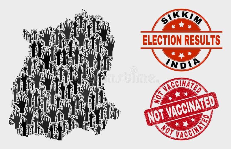 Collage del mapa del estado de Sikkim de la elección y apenar el sello no vacunado stock de ilustración