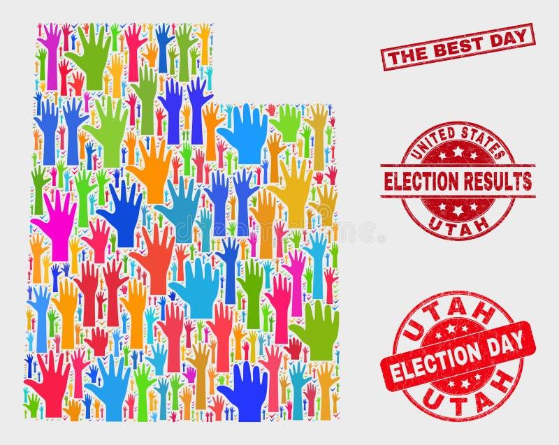 Collage del mapa del estado de Utah de la elección y apenar el mejor sello del día libre illustration