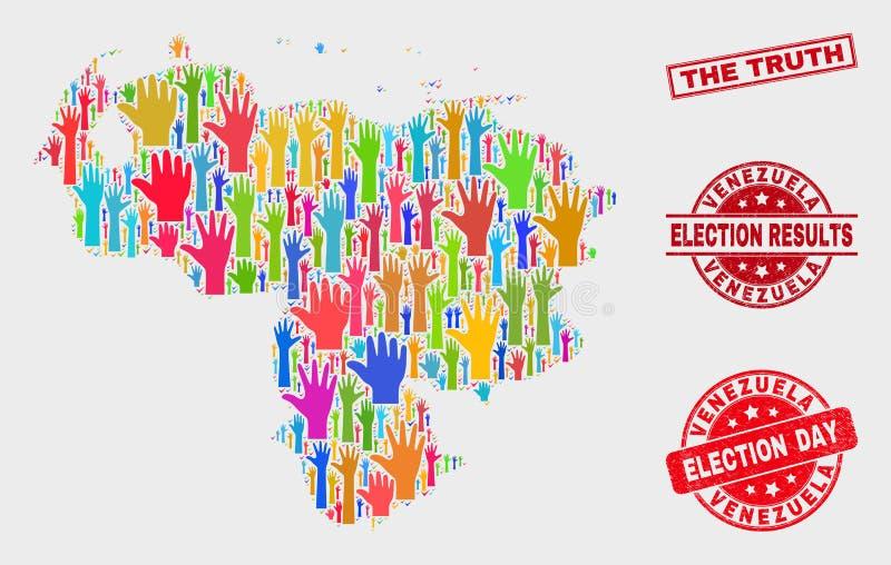 Collage del mapa y del Grunge de Venezuela de la elección el sello del sello de la verdad stock de ilustración
