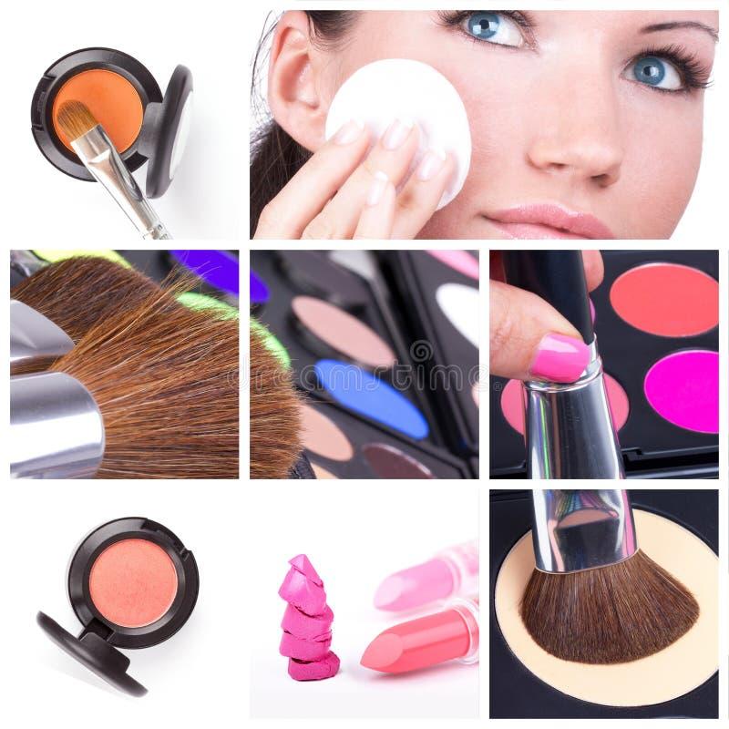 Collage del maquillaje fotos de archivo