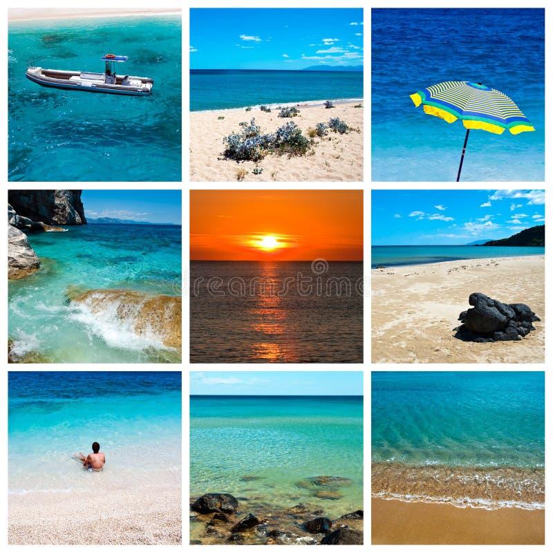 Collage del mar y de la playa foto de archivo libre de regalías