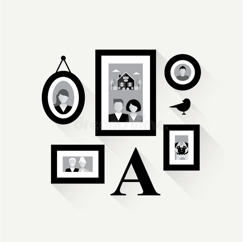 Collage Del Marco De La Familia Ilustración del Vector - Ilustración ...