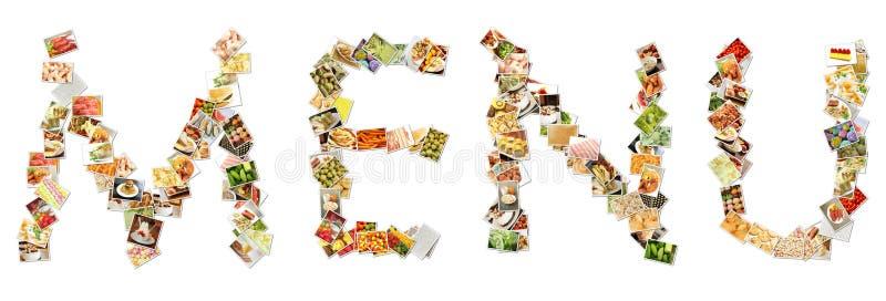 Collage del menú del alimento fotografía de archivo