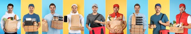 Collage del mensajero con órdenes en fondo del color fotos de archivo