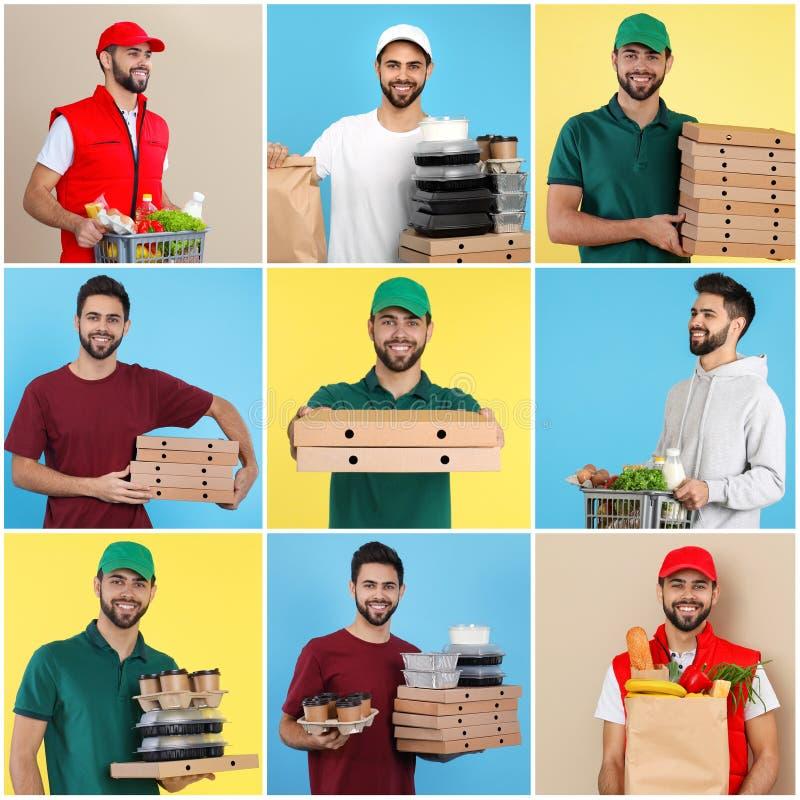 Collage del mensajero con órdenes en fondo del color imagen de archivo libre de regalías