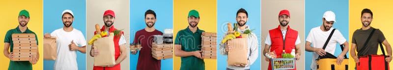 Collage del mensajero con órdenes en fondo del color fotografía de archivo libre de regalías