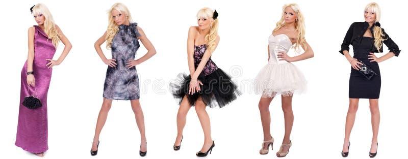 Collage del modello di moda in vestiti differenti immagini stock