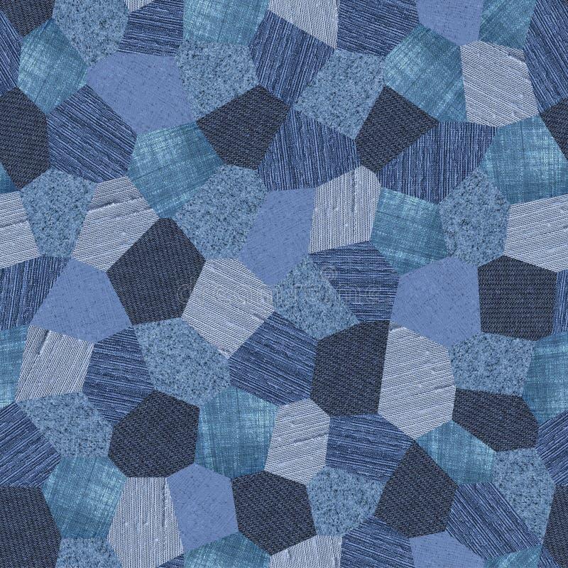 Collage del modelo del dril de algodón inconsútil stock de ilustración