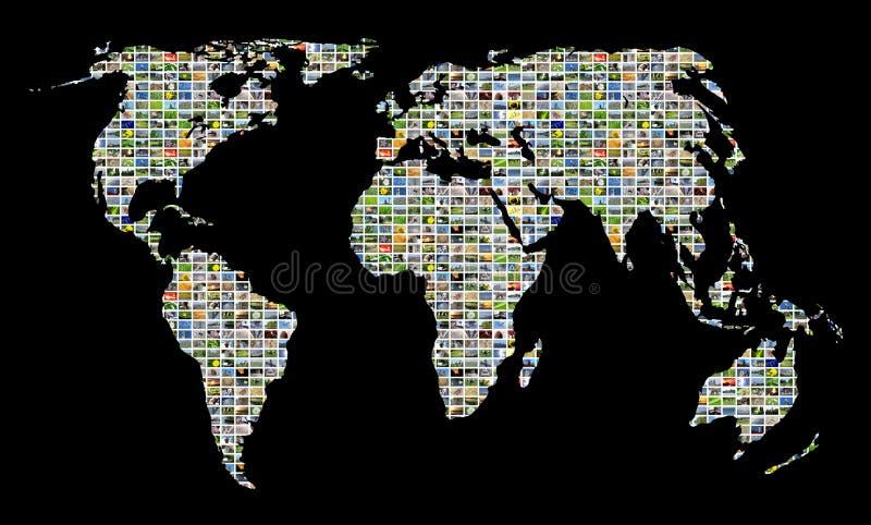 Collage del mondo di multimedia illustrazione vettoriale