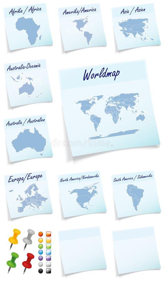 Collage del mundo con los remiendos continentes ilustración del vector