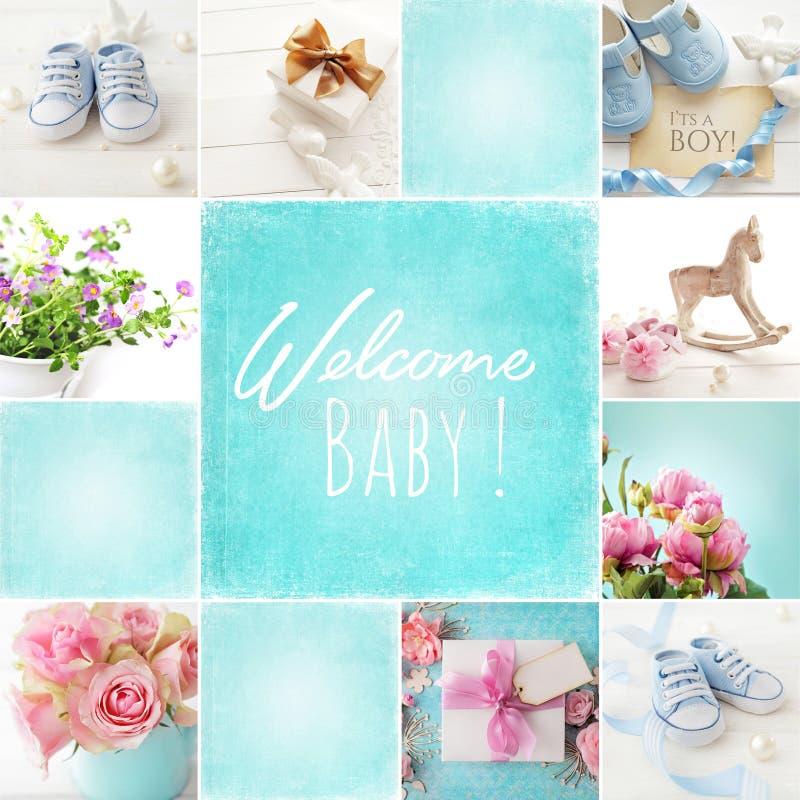 Collage del nacimiento del bebé imagenes de archivo