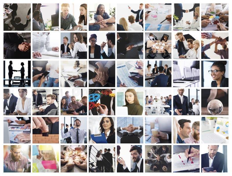 Collage del negocio con la escena de la persona del negocio en el trabajo imagen de archivo libre de regalías