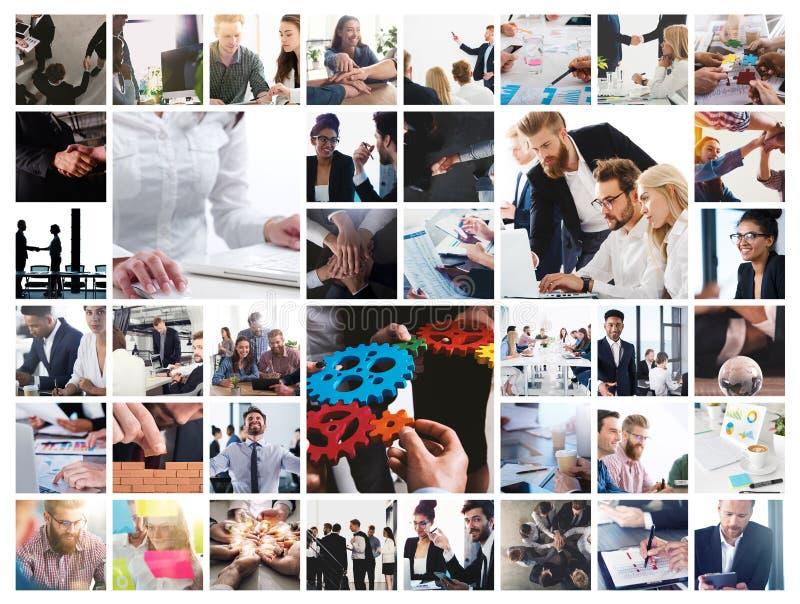 Collage del negocio con la escena de la persona del negocio en el trabajo foto de archivo libre de regalías