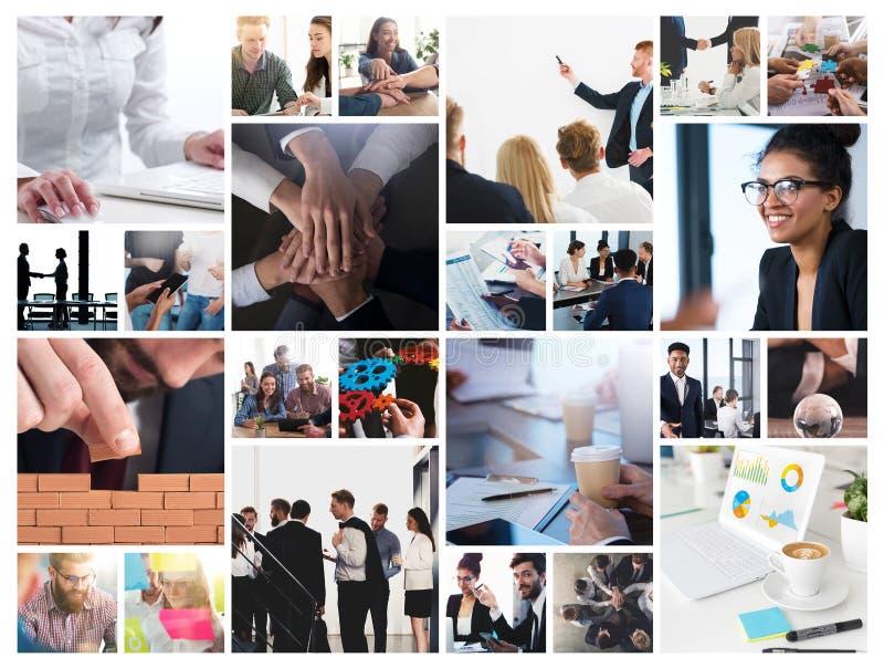 Collage del negocio con la escena de la persona del negocio en el trabajo imágenes de archivo libres de regalías