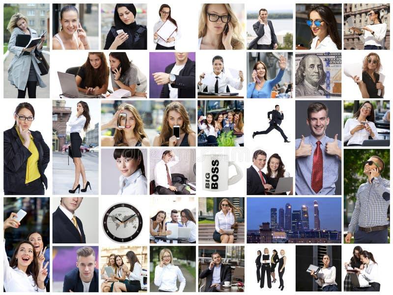 Collage del negocio hecho de muchas diversas imágenes sobre finanzas fotos de archivo libres de regalías