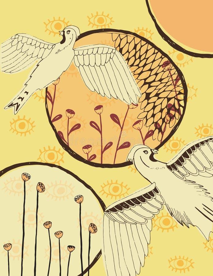 Collage del pájaro y de elementos fotos de archivo