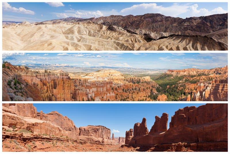 Collage del paesaggio dei parchi nazionali di U.S.A. fotografia stock libera da diritti
