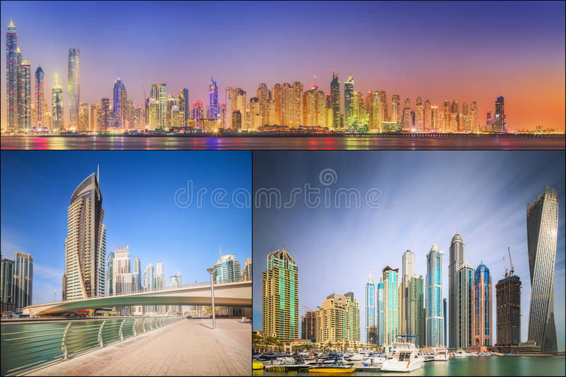 Collage del panorama di bellezza al porticciolo del Dubai immagine stock