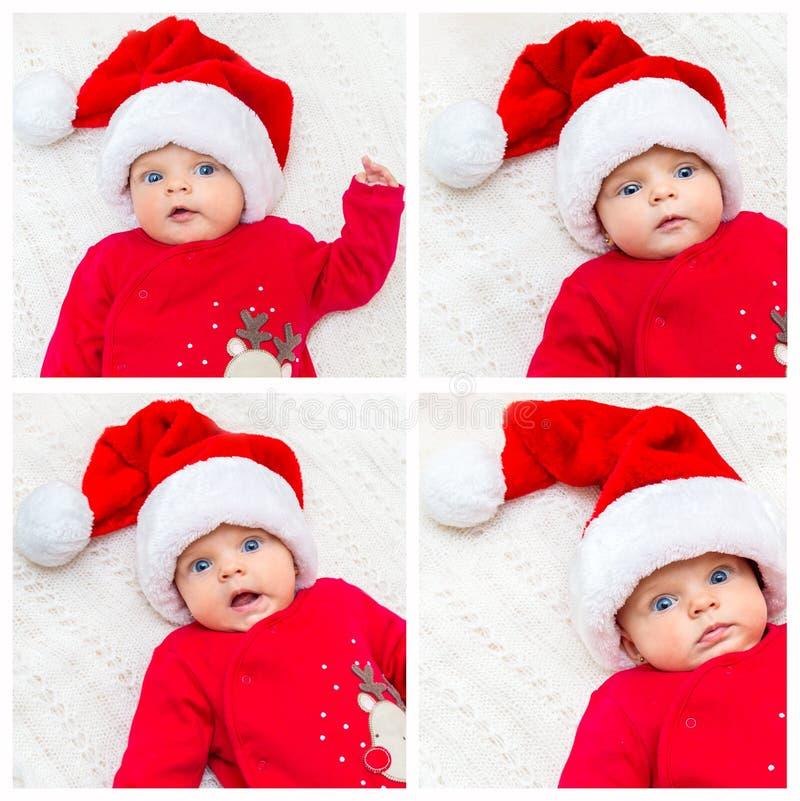 Collage del pequeño bebé en el sombrero de santa imagenes de archivo