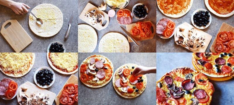 Collage del proceso de fabricación hecho en casa de la pizza imagen de archivo libre de regalías