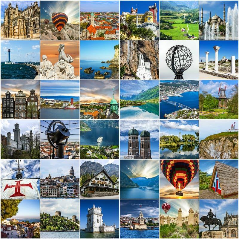 Collage del recorrido Señal europea y paisajes foto de archivo