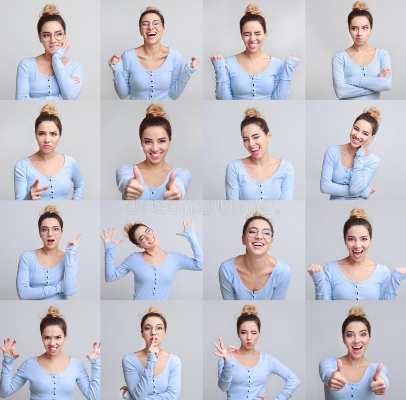 Collage del retrato de la muchacha con diversas expresiones faciales imagen de archivo libre de regalías