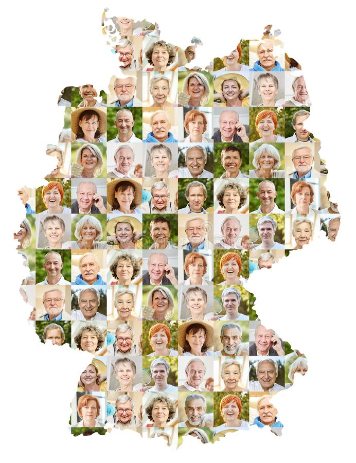 Collage del retrato de los mayores en el mapa de Alemania foto de archivo
