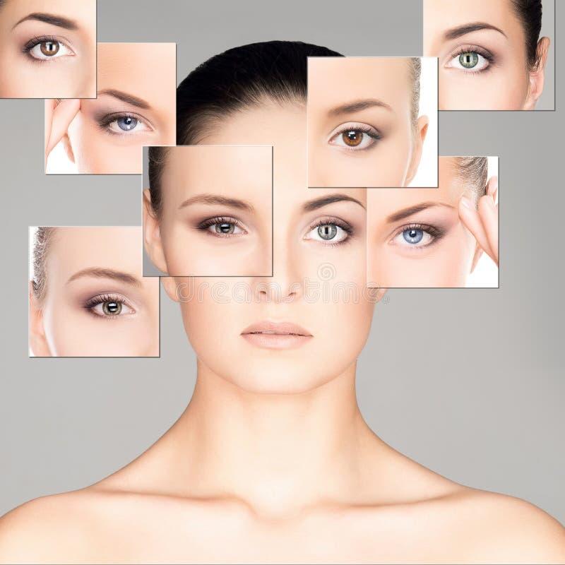 Collage del retrato de mujeres hermosas en maquillaje foto de archivo libre de regalías