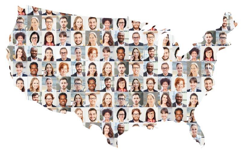 Collage del ritratto della gente di affari sulla mappa di U.S.A. immagine stock libera da diritti