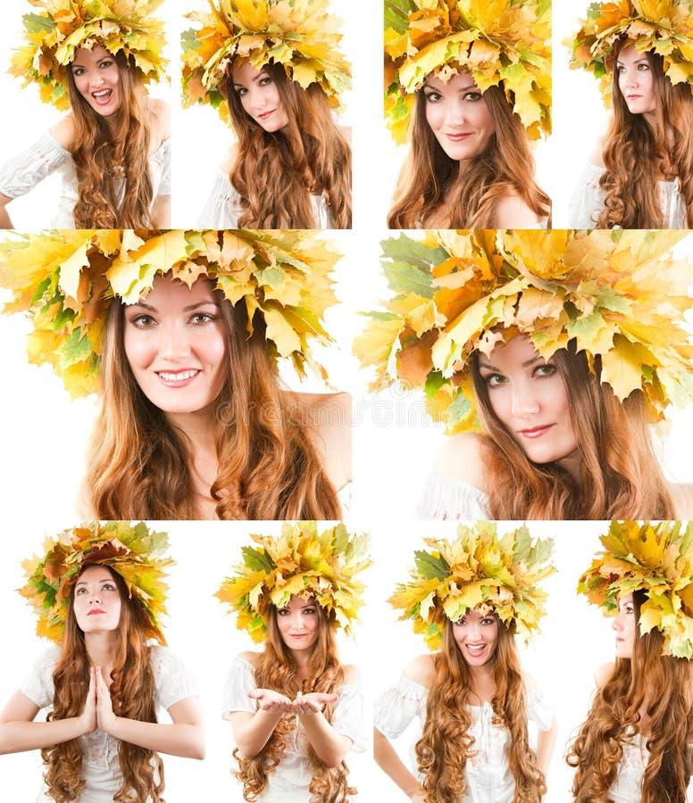 Collage del ritratto della ragazza con la corona di autunno delle foglie di acero sulla testa su fondo bianco isolato fotografia stock libera da diritti