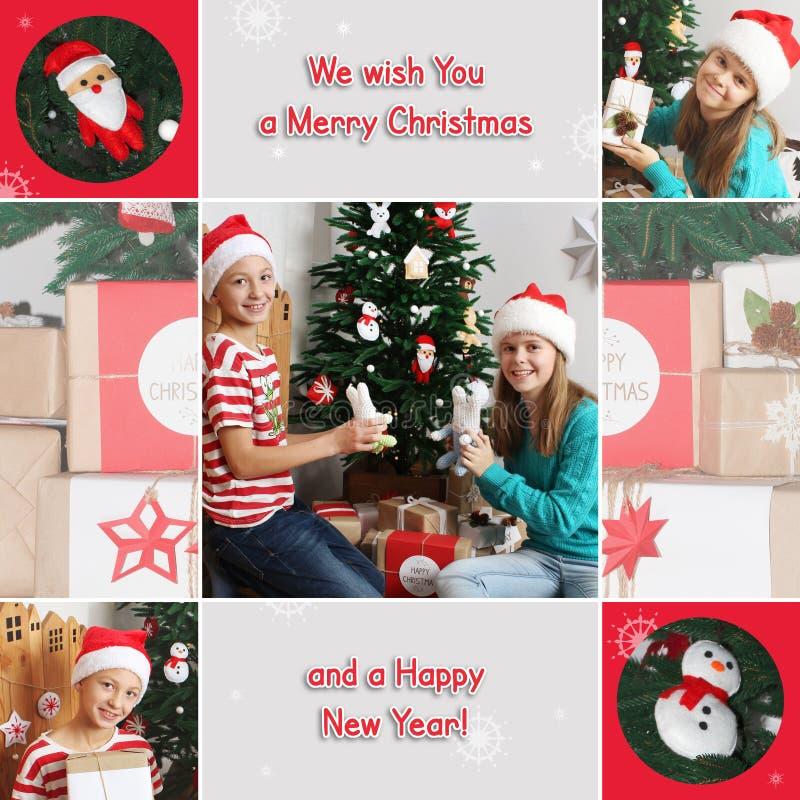 Collage del tema de la Navidad Los niños felices con los juguetes acercan al árbol de navidad Regalos foto de archivo libre de regalías