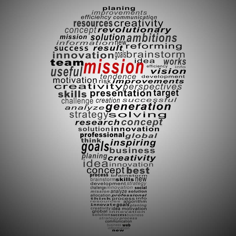 Collage del testo di missione composto sotto forma della lampadina fotografie stock
