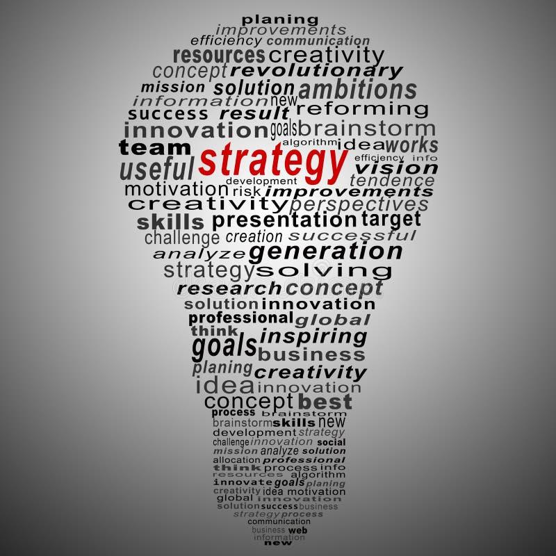 Collage del texto de la estrategia compuesto en la forma de bulbo ilustración del vector