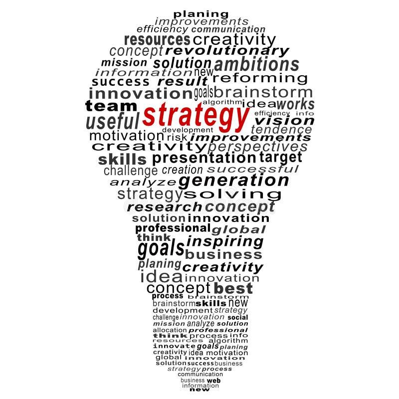 Collage del texto de la estrategia compuesto en la forma de bulbo stock de ilustración