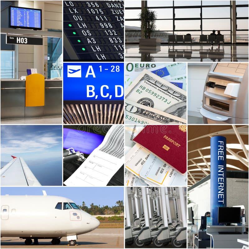 Collage del transporte aéreo fotos de archivo