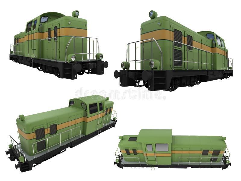 Collage del treno isolato illustrazione di stock