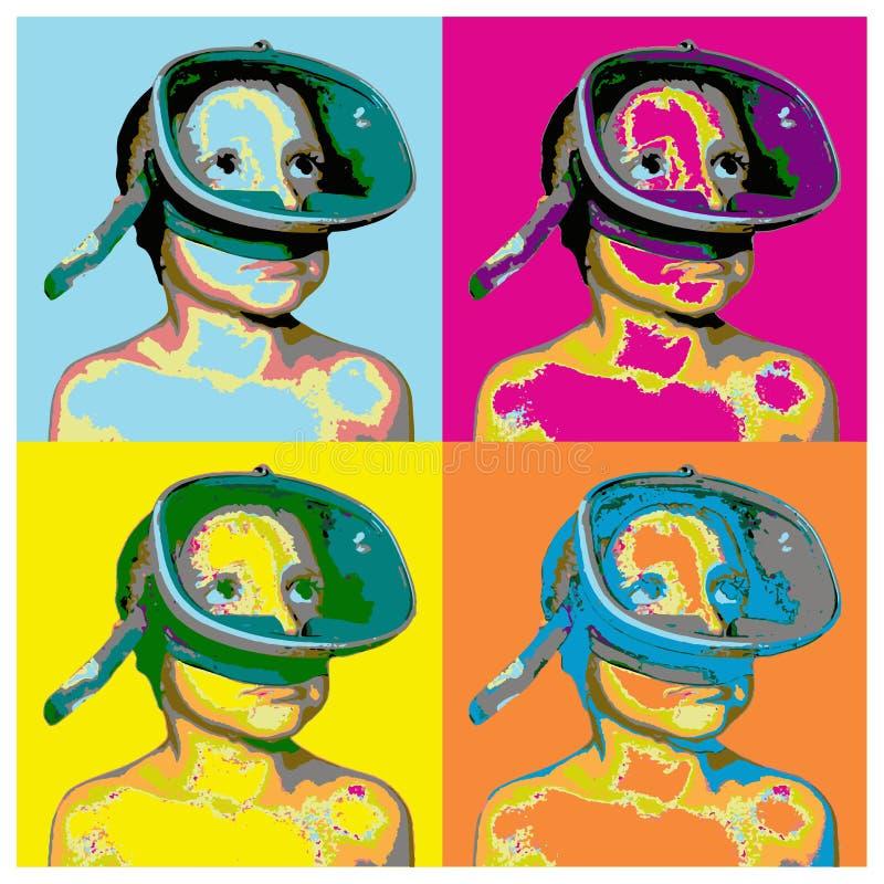 Collage del vector en estilo del arte pop con un muchacho en una máscara que nada stock de ilustración