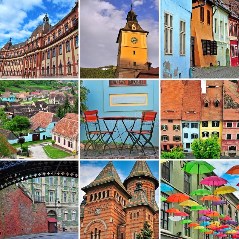 Collage del viaje de Rumania fotografía de archivo