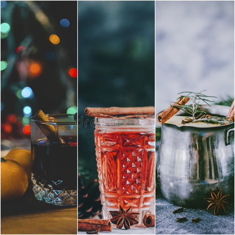 Collage del vin brulé immagini stock