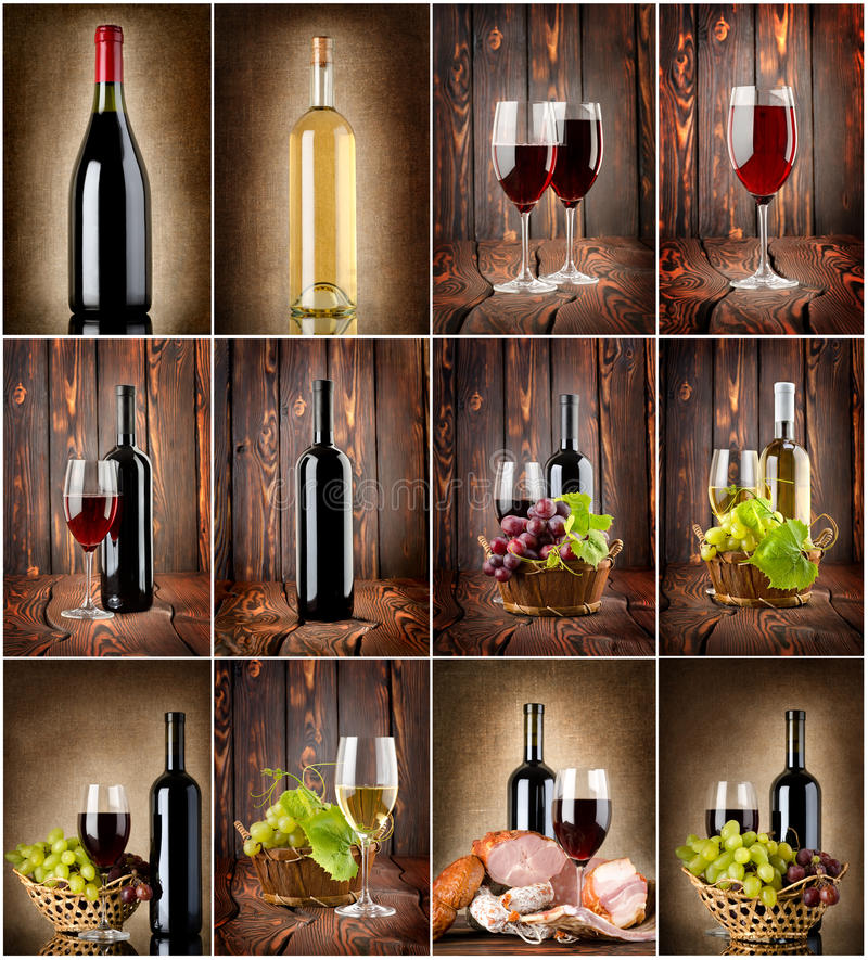 Collage del vino fotografie stock