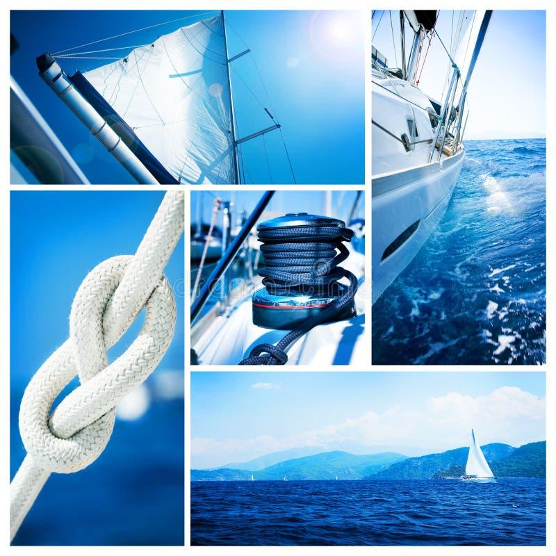 Collage del yate del barco de vela. Navegación foto de archivo