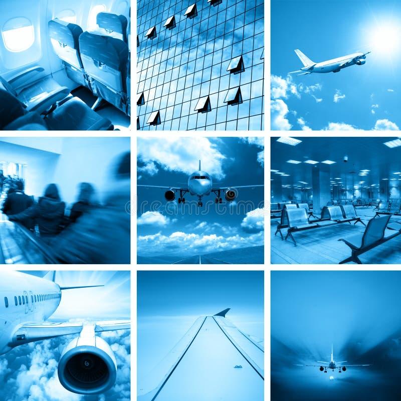 Collage dell'aeroporto di affari immagine stock