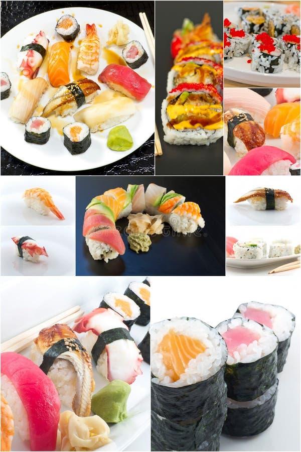 Collage dell'alimento dei sushi fotografie stock