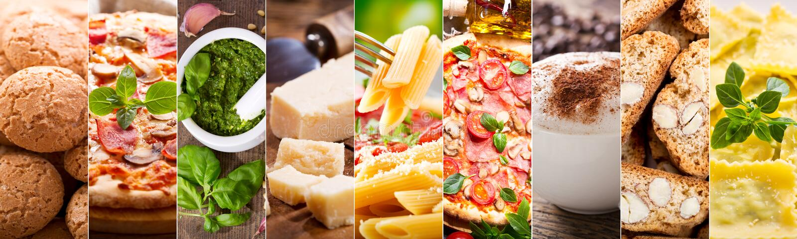 Collage dell'alimento di cucina italiana fotografie stock