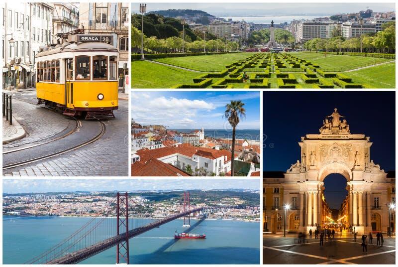 Collage dell'immagine della città di Lisbona nel Portogallo fotografia stock