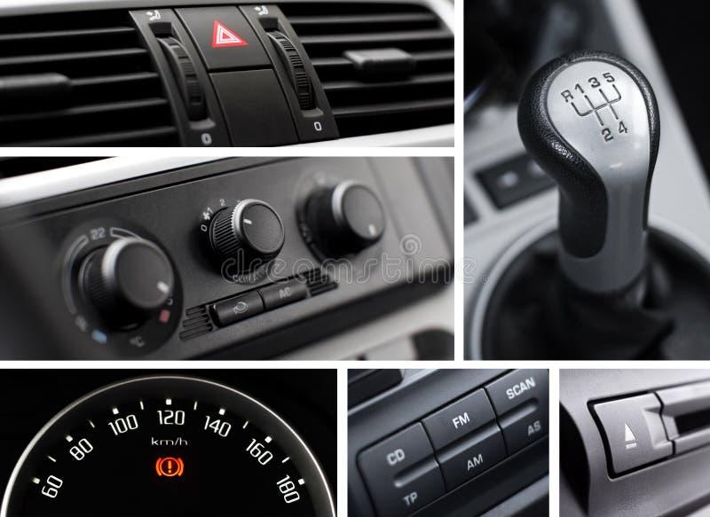 Collage dell'interiore dell'automobile immagini stock