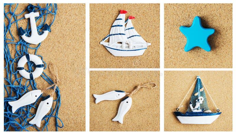 Collage della decorazione del mare di estate fotografia stock