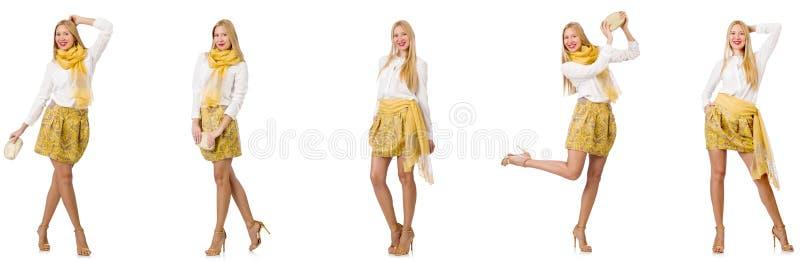 Collage della donna nel sembrare di modo isolata su bianco fotografie stock libere da diritti