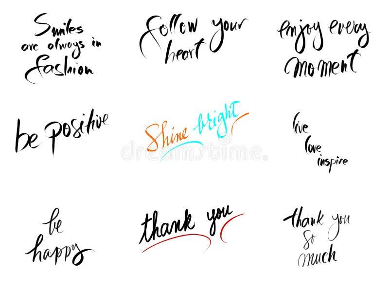 Collage della foto con i messaggi motivazionali isolati su bianco illustrazione di stock